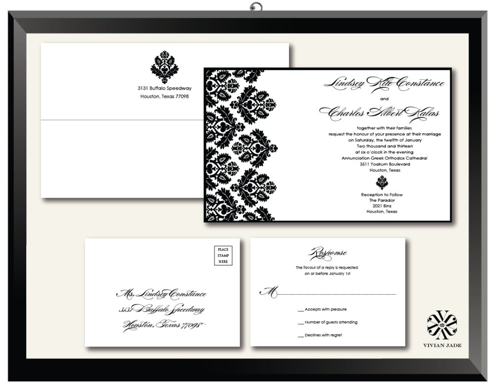 Lindsey Damask Wedding Invitations