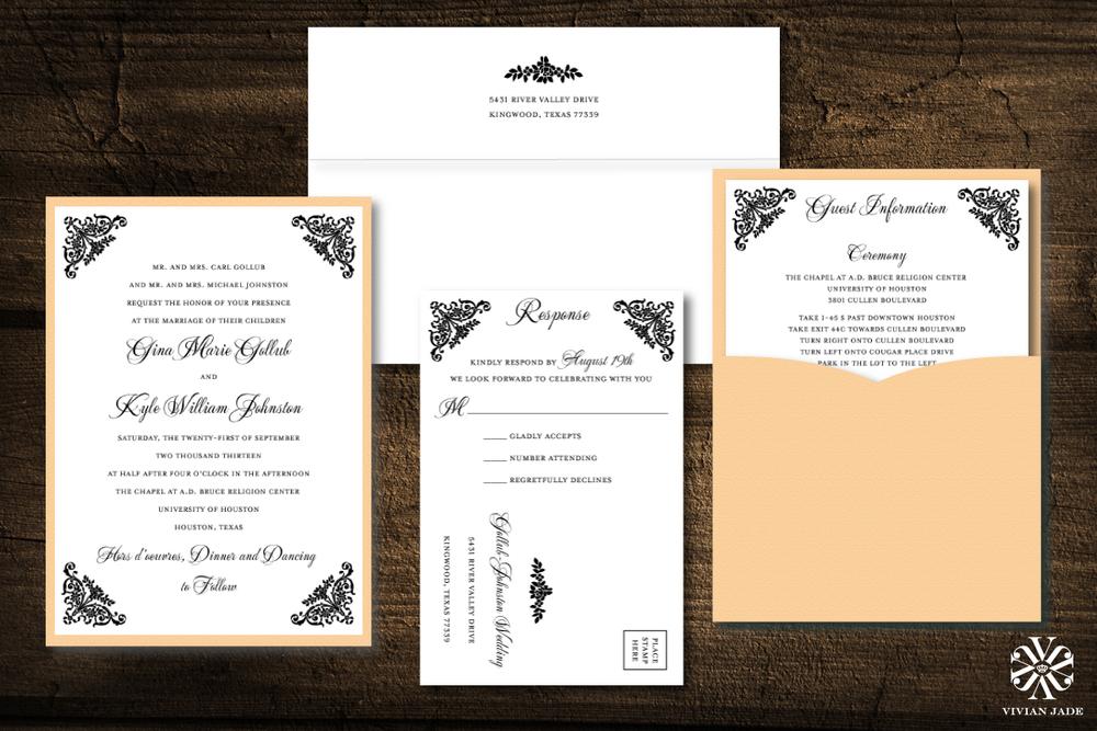 Houston wedding invitations wedding invitations houston save the gina amp kyle stopboris Image collections