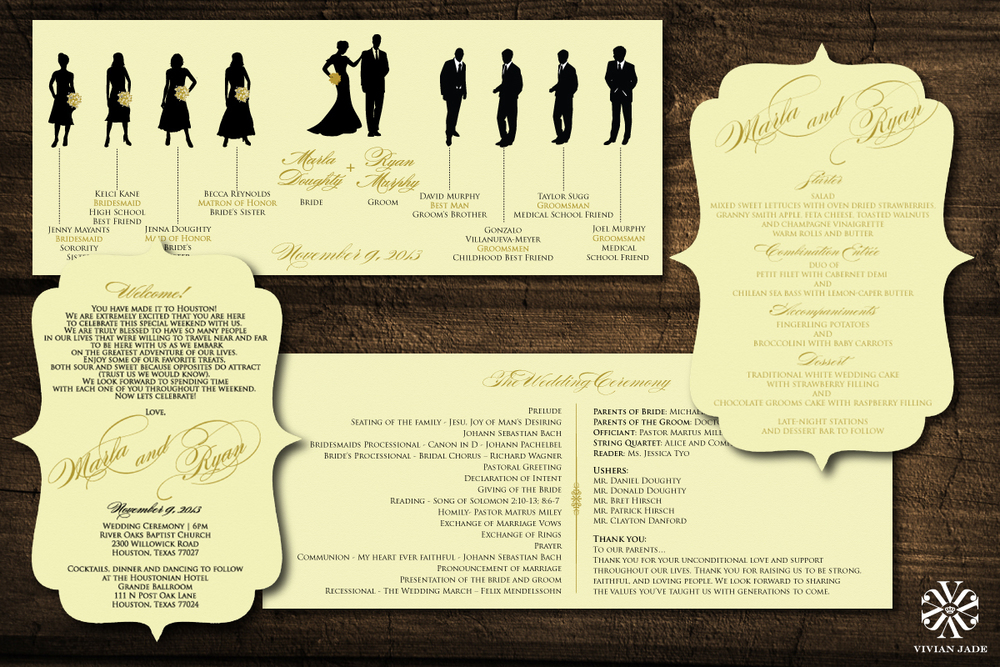Marla & Ryan Programs, Welcome Notes, and Menu Cards