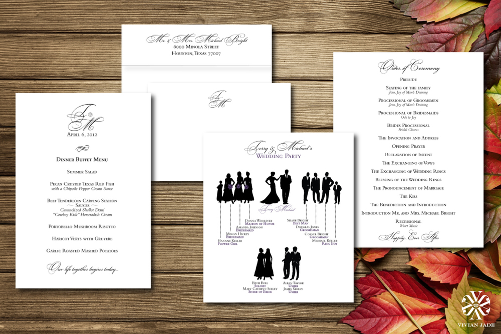 Terry & Michael  Menu Cards, Thank You Notes & Envelopes, Wedding Party Cards, and Order of Ceremony Cards