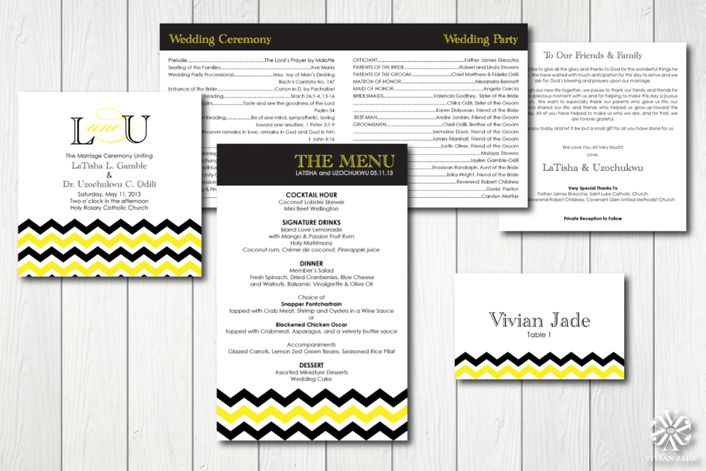 LaTisha & Uzochukwu  Programs, Menus, Place Cards