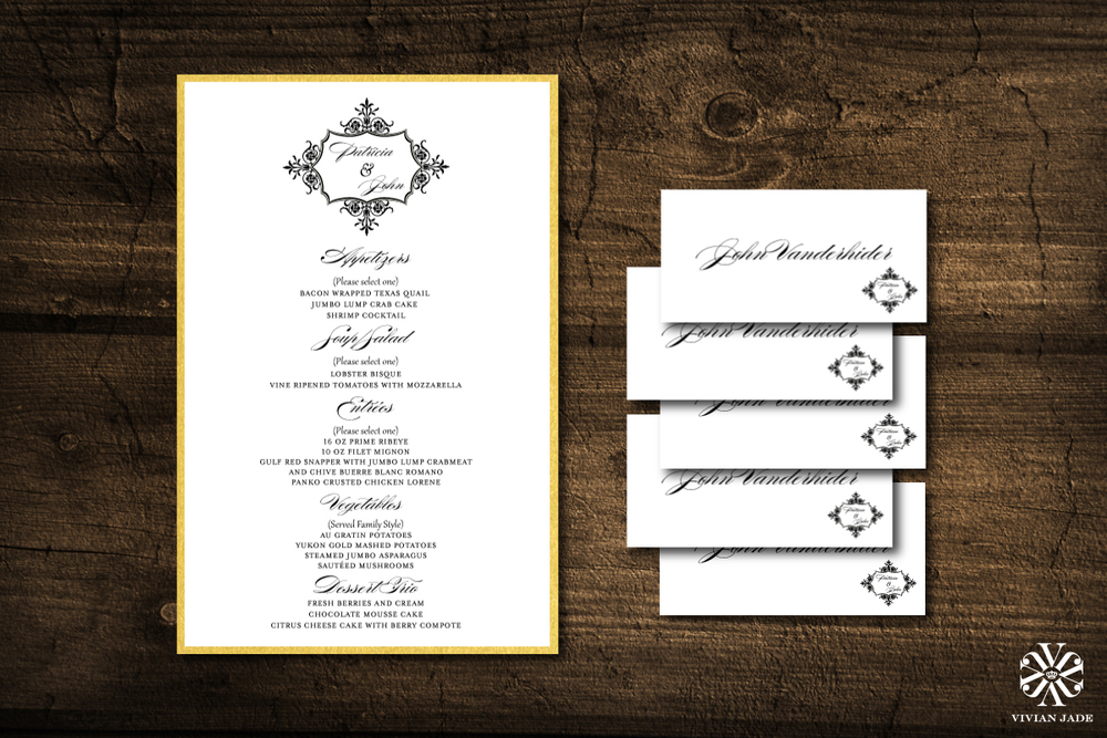 Patricia & John   Menu Cards and Place Cards