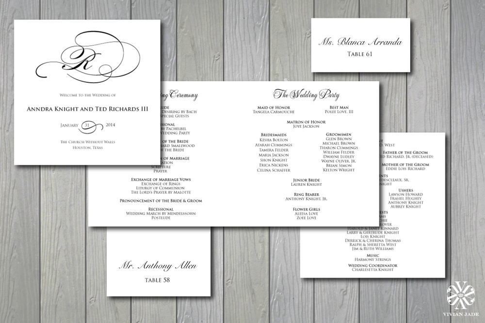 Anndra & Ted  Programs, Escort Cards, Place Cards