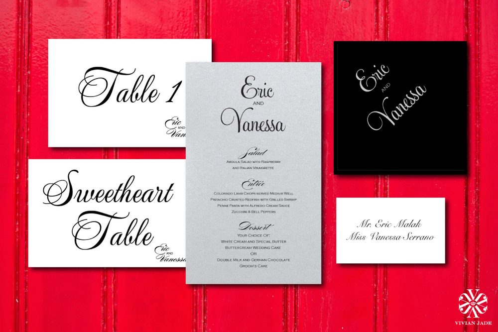 Vanessa & Eric  Table Numbers, Menu Cards, Napkins, Escort Cards