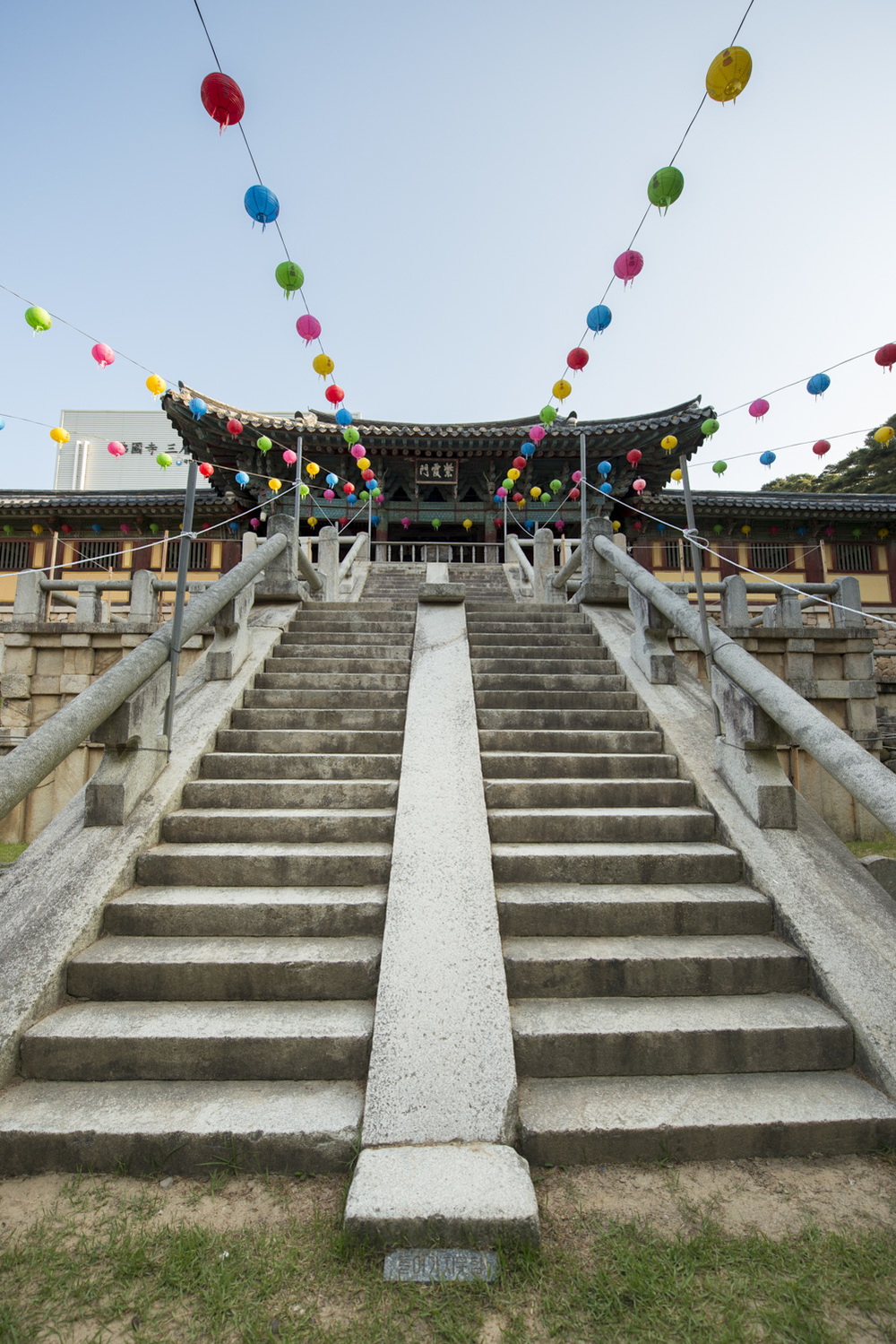 The stairs at Bulguksa Temple are one of its more famous features. There are 33 steps which represents the 33 steps to enlightenment. Unfortunately, though you can't tell from this photo, they were roped off so I could not climb them. #funkiller
