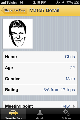 The app uses your Facebook account to make it really easy for you to start straight away. We show your age and gender to potential matches then include yourFacebook profile photo and first name once you have accepted them. This is the point you also receive the exact meeting location, can get directions to this spot, and can send messages to your match.