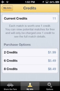 Each time you Share The Fare it will cost one credit. Credits are easily purchased through iTunes and note that Share The Fare will never ask for credit card details. Instead, we will throw in two free credits to get you started!