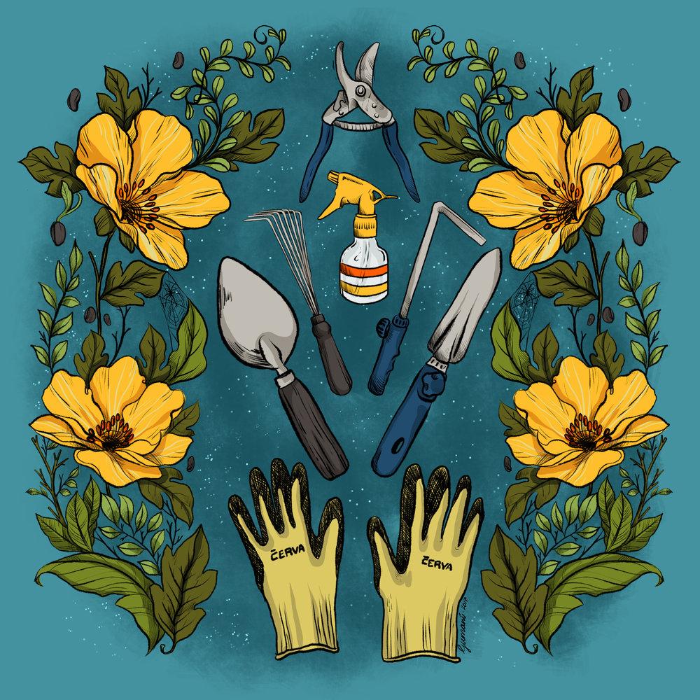 Gardening Tools  Digital - iPad Pro + Apple Pencil +Procreate App