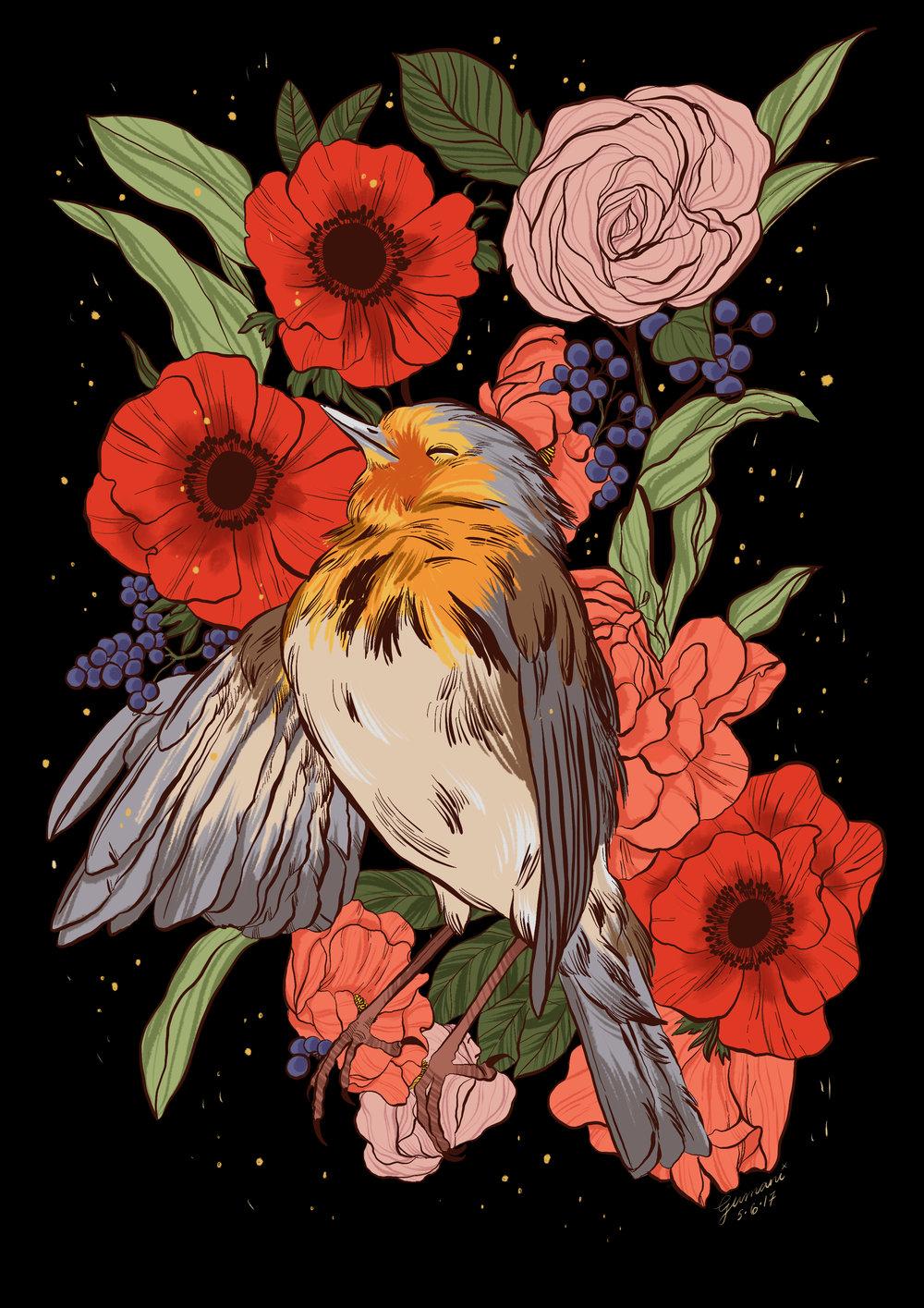 Dead Bird  Digital art ,iPad Pro + Apple Pencil + Procreate App