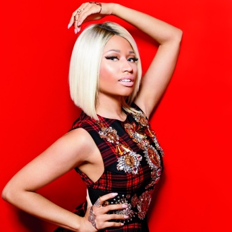 Nicki Minaj loves to wear different hair colors and styles, but recently she has been sticking to her platinum blonde bob with dark roots. We love it Nicki! (Photo credit: Marie Claire magazine)