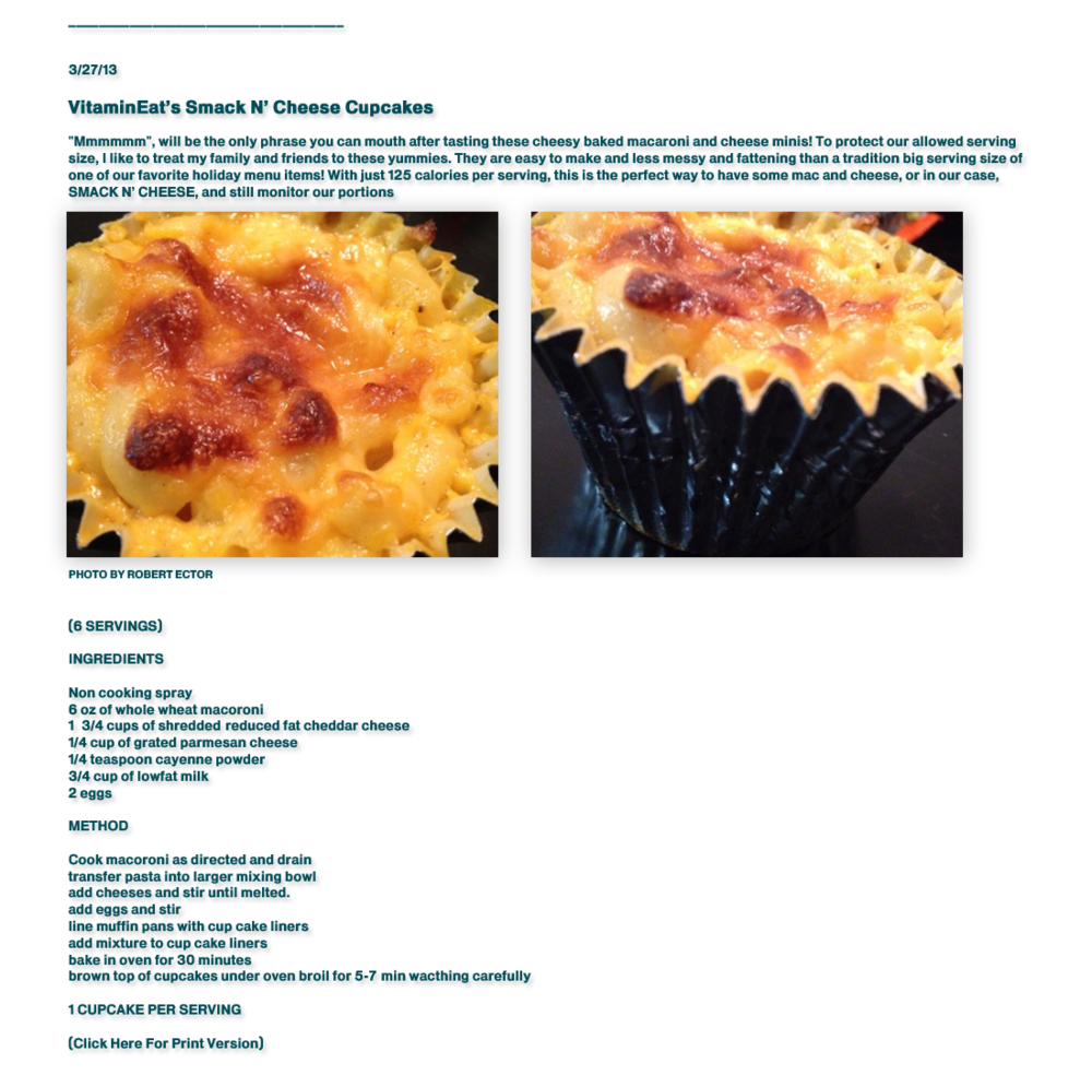 Ellen Ector's recipe for cupcake sized portions of macaroni and cheese. Find more recipes at   blackgirlsworkoutoo.com  .