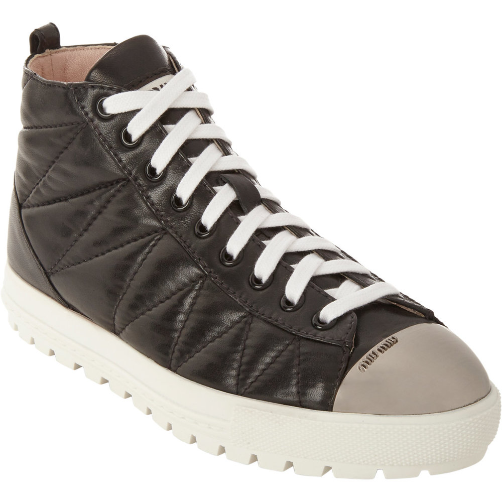 Miu Miu Quilted Leather Cap Toe High-top Sneakers