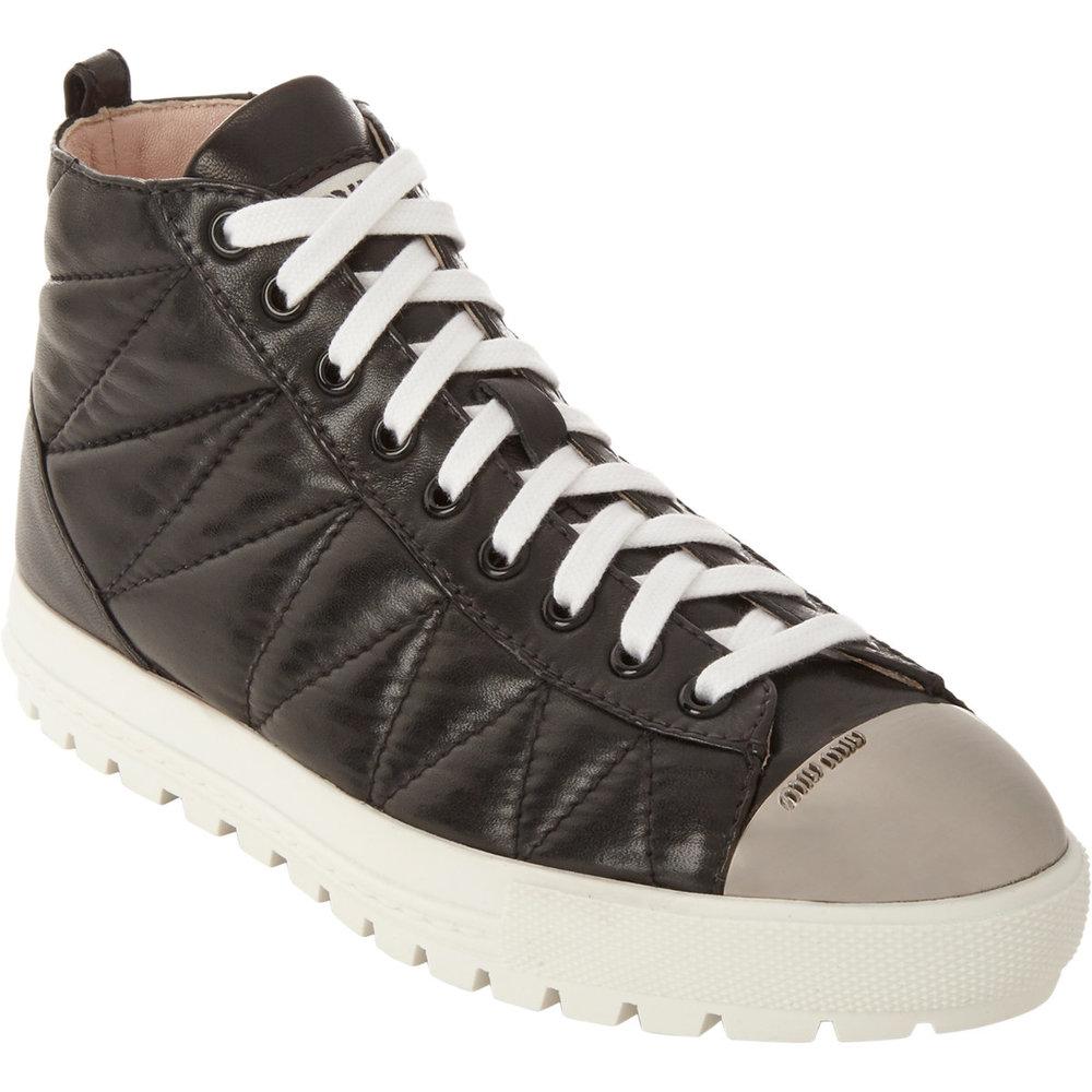 Miu Miu Quilted Leather Cap Toe High-top Sneakers