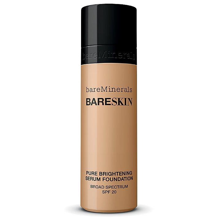 bareSkin Pure Brightening Serum Foundation Broad Spectrum SPF 20  is available in 20 shades that can be adjusted for minimal/full coverage use. The fluid foundation can be used for all skin types, it provides a natural finish, has been formulated with lilac plant stem cells, and has no silicone, oil, parabens, or fragrance.