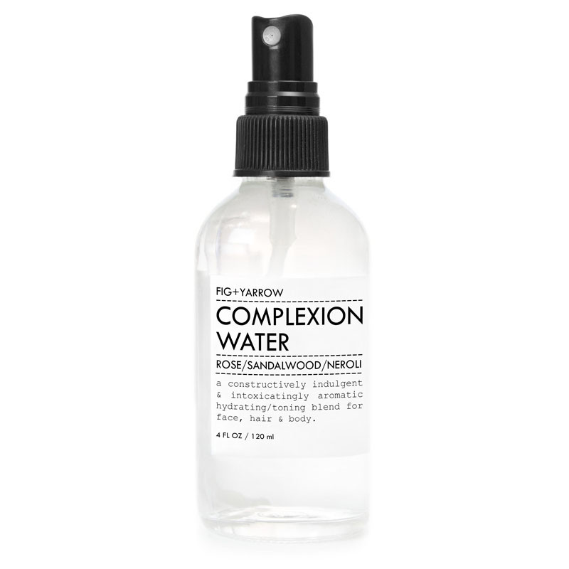FIG+YARROW's Complexion Water is made to balance, tone and hydrate the face or your entire body. The two blends, Rose/Sandalwood/Neroli, and Yarrow/Immortelle/RockRose, are certified organic floral distillates and pure essential oils mixed all in one.