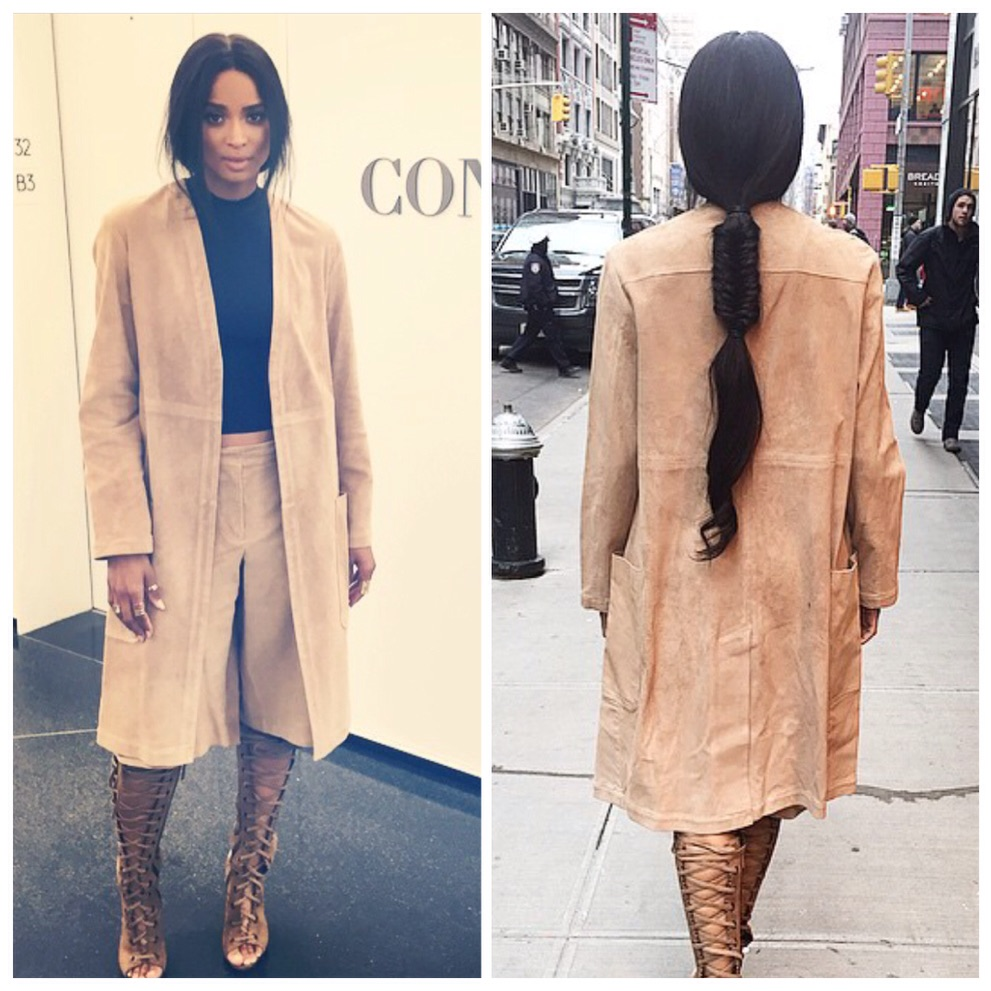 "Ciara is wearing Indique's PURE Wavy 30"" in a fun ponytail with a braid."