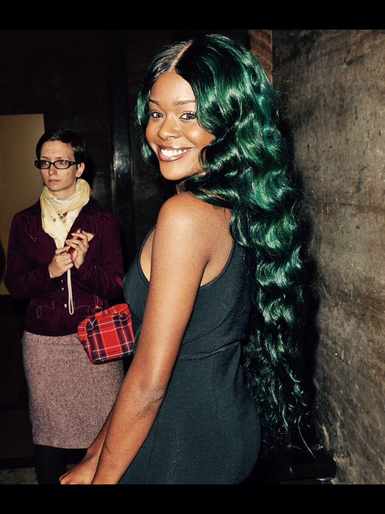 "Azealia Banks Is wearing Indique's PURE Wavy 30"" with a custom color."