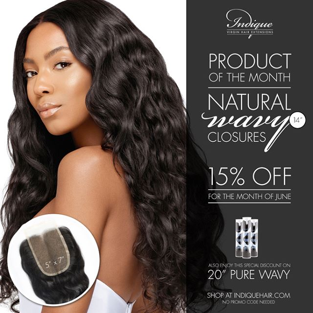 "Can you believe it's June already? Our Products of the Month are PURE Wavy in 20"" and the Natural Wavy Closure in 14""! Both products are 15% off. You can receive this offer online, in our boutiques, and through Customer Service at 8775564247!  #ProductoftheMonth #Indique #Indiquehair #IndiqueBoutique #PUREWavyClosure #NaturalWavyCLosure #Closure #WavyHair #WavyHairstyles"