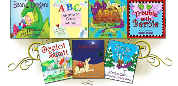 Bean's Dragons ABC Adventures: Magical Creatures ABC Adventures: Cooking with Kids Trouble with Bernie Lucius and the Christmas Star, by Jim Long Ocelot Scott, by Carolyn Quist Bongo Flo, by Carolyn Quist Hippopotamus Gus, by Carolyn Quist More to come...