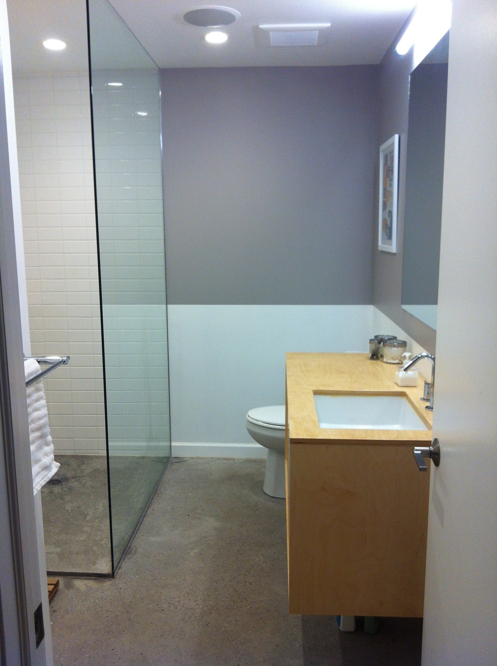 Bathroom ceiling speakers - Now Full Bathroom Custom Vanity Electric Floor Mat New Concrete Floor