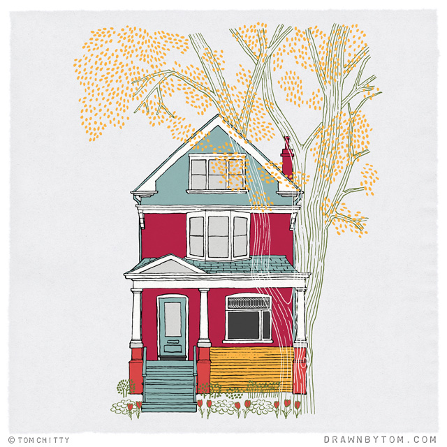 House drawing by Tom Chitty