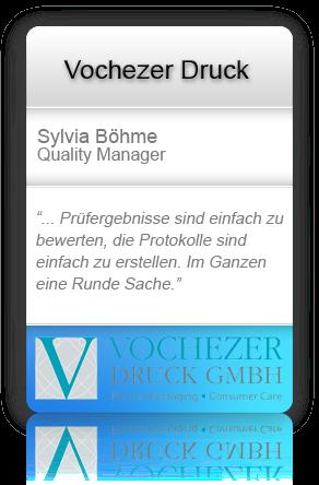 Customer testimonial from Vochezer Druck