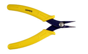 "LN-P5T5 - Needle nose pliers with short jaws, Length 0.80"".  Overall length of pliers is 5-1/2""."