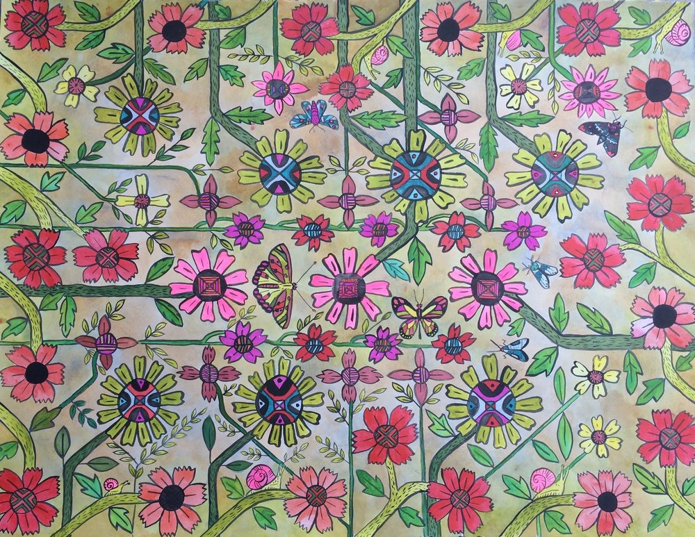 Flower Grid, Ink and Acrylic, 20 X 30""