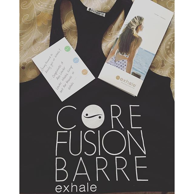 Made my day !! Thank you @exhalespa ! 😍  #newobsession #corefusion #corefusionbarre #exhalespa #saturdaymorning #welcometotheweekend #hbfit #wellandgood #fitreserve #fitsporation #hashtagsfordays #fit #wellness #stayhealthylivewell #sohappy