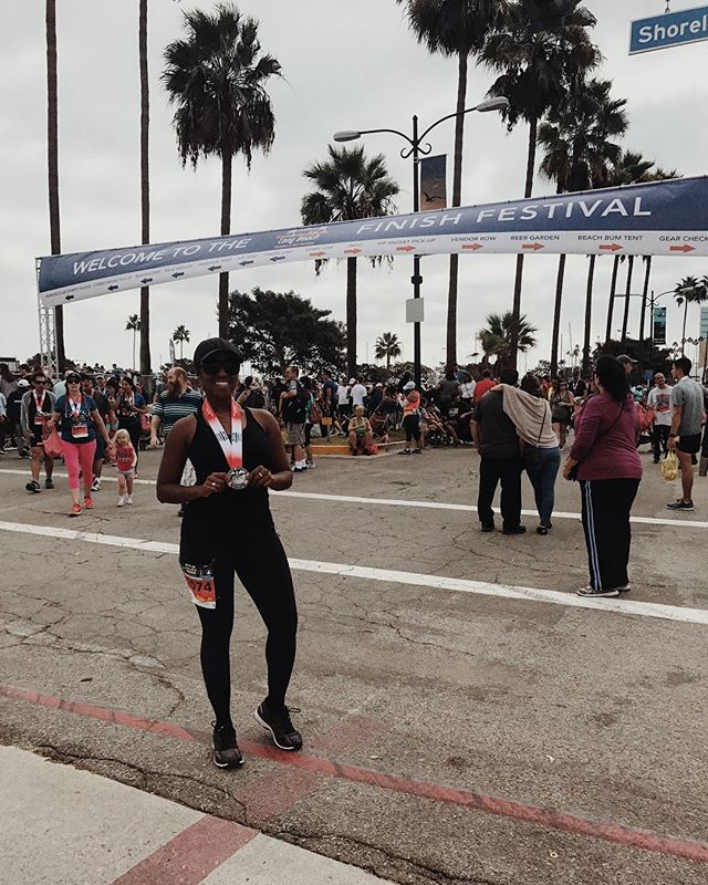 Long Beach Half Marathon ✅ felt good to be back in a race -next one's for time 😈  cc: @kellyahugs  #longbeachhalfmarathon #sunday