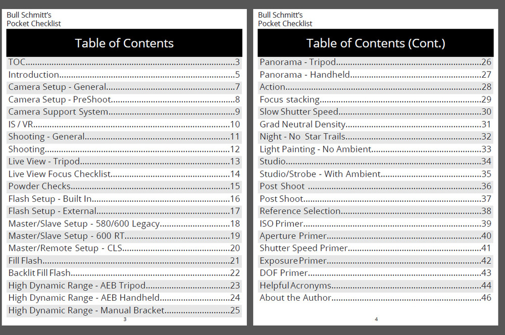 The Photo PCL table of contents.