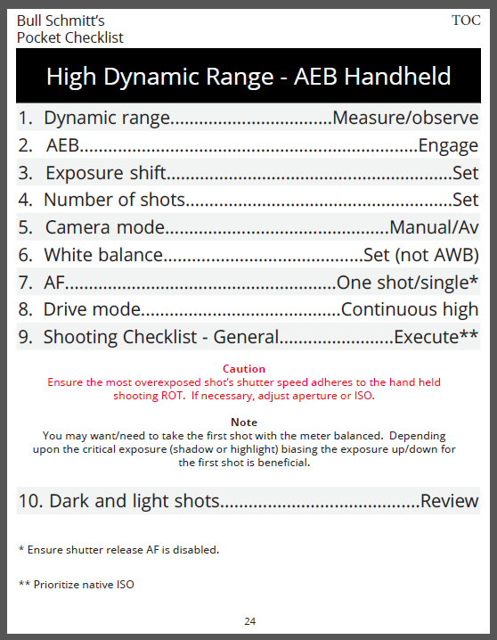The hand-held HDR Checklist
