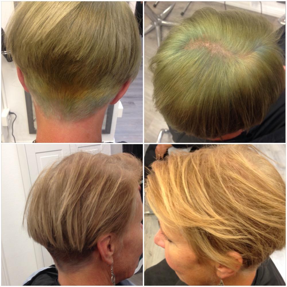 bild längst ner till höger är lite missvisande, den är kallare i verkligheten, som bilden längst ner till vänster men hade jag blandat i mer värme i färgen så hade håret fått en mer gyllene ton just som bilden till höger.