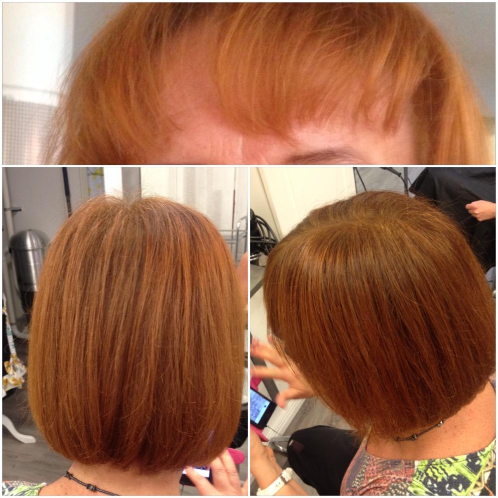 Bild högst upp : före, ljuskoppar, blondkoppar. Nedan: Mustigare koppar med bruna inslag.