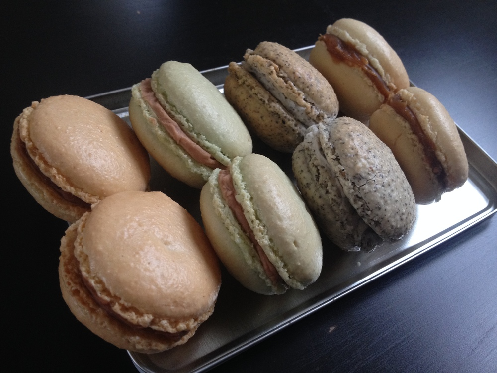 Macaron selection: ginger chocolate, mint chocolate, Lady Grey, salted caramel