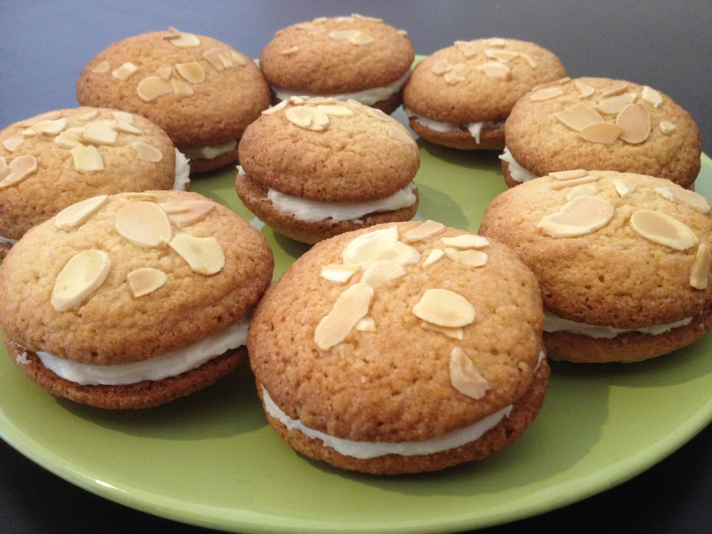 Almond biscuits sandwiched with butter icing