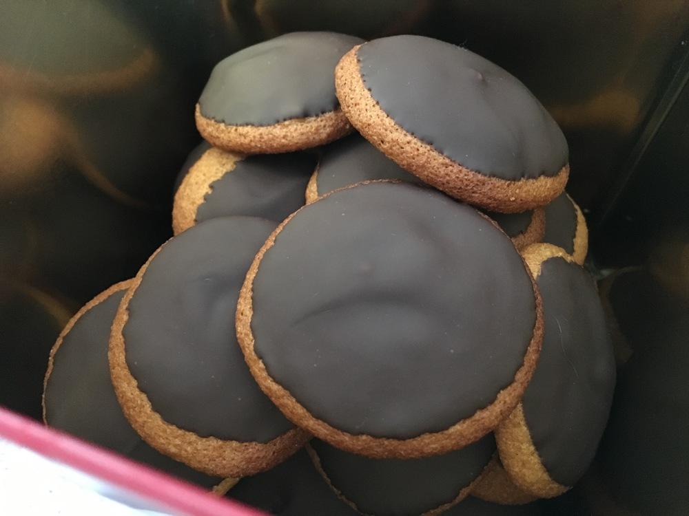 Lebkuchen with orange zest and dark chocolate