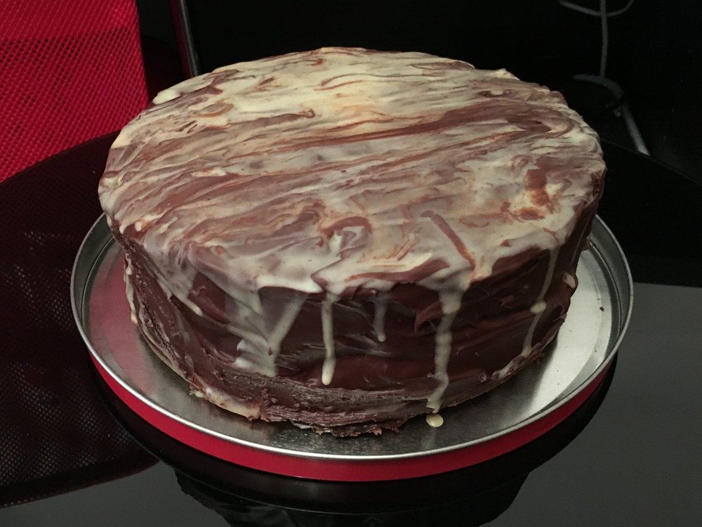 Marble chocolate birthday cake