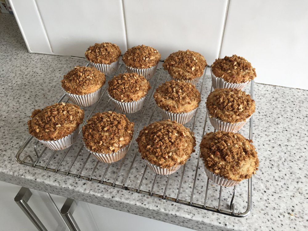 Roasted banana muffins with a pecan crumble topping