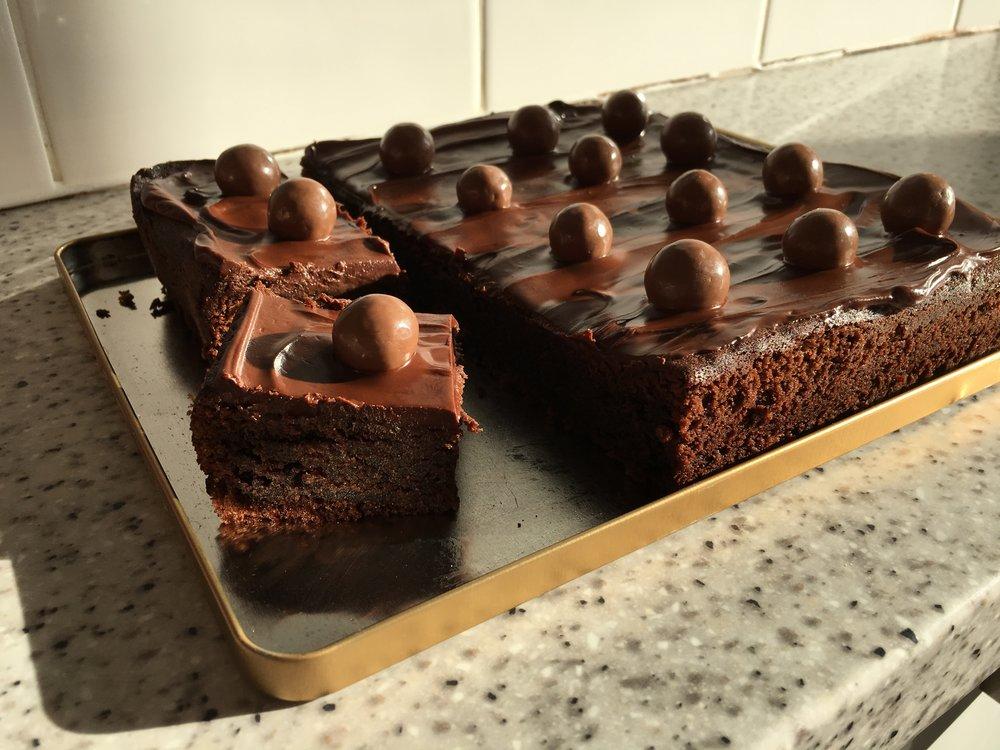 Malted milk chocolate cake