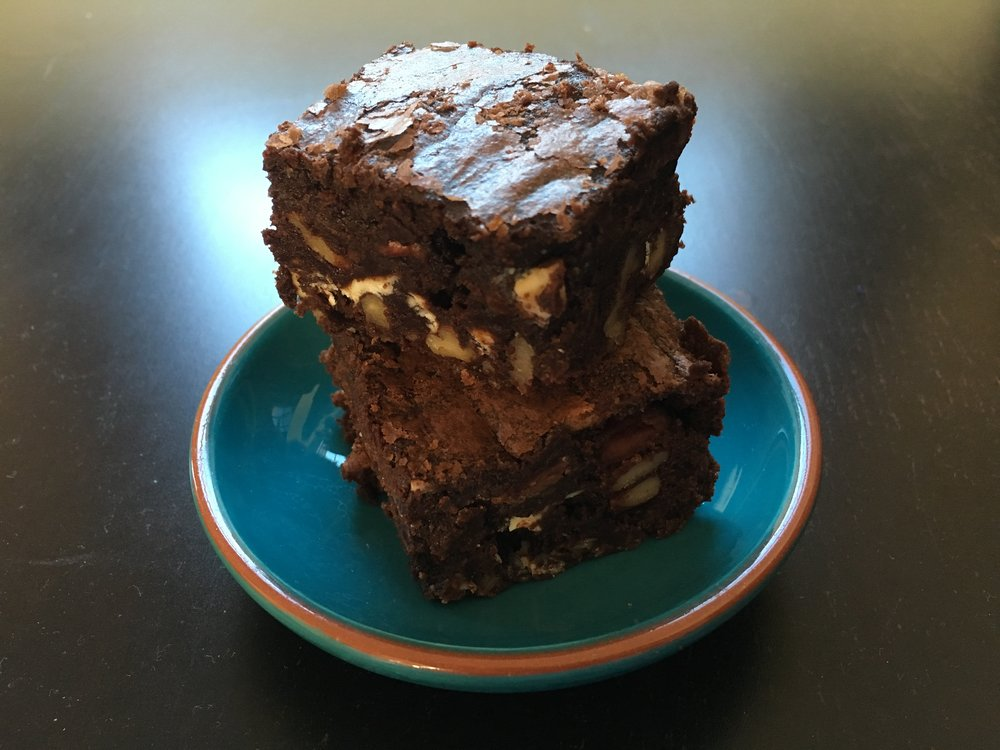 Double chocolate and pecan brownies