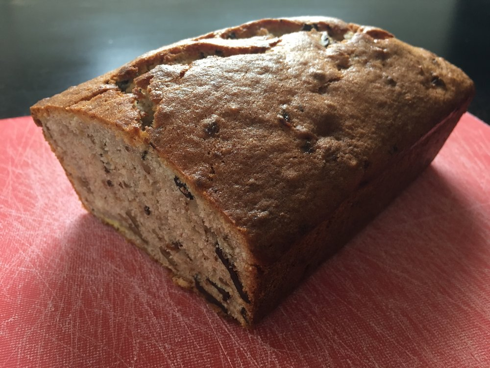 Banana bread with chocolate and walnuts