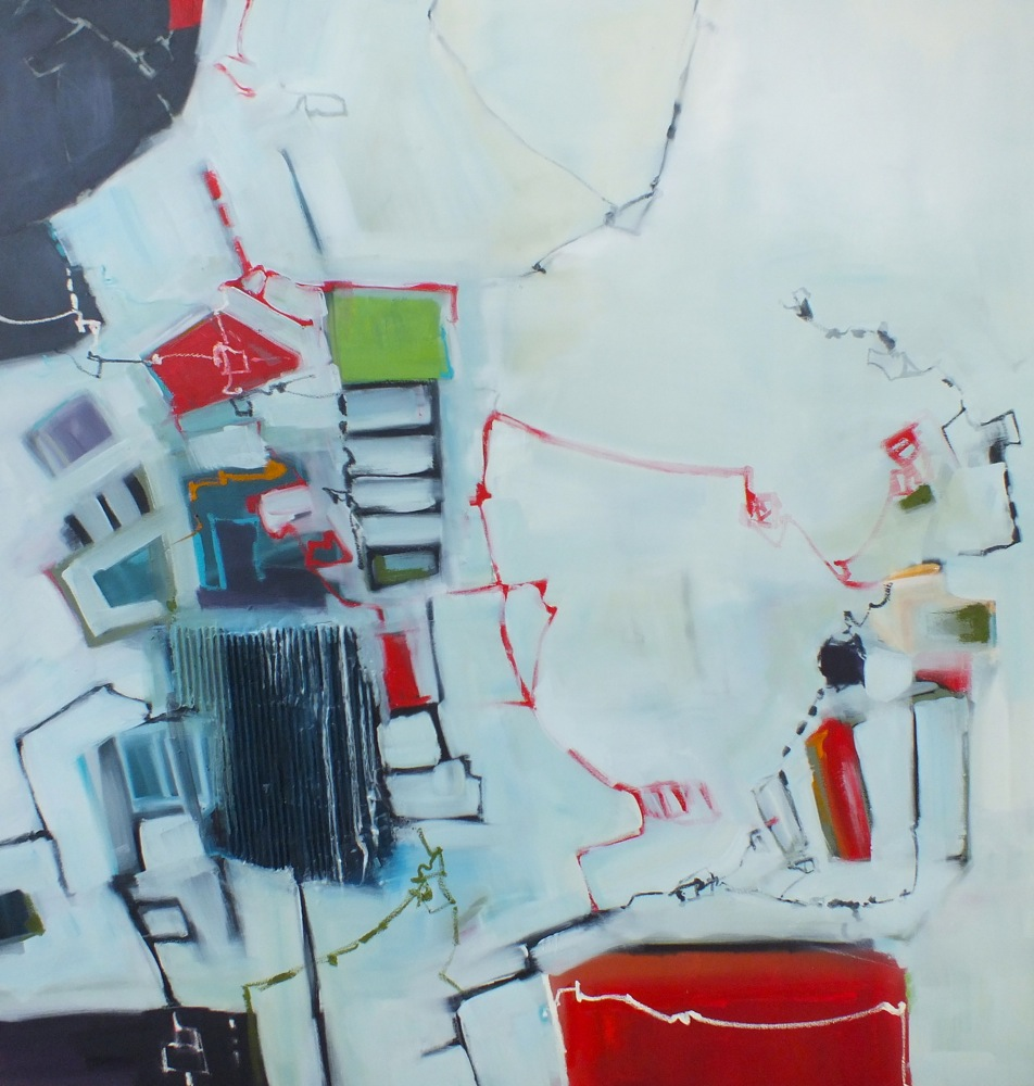"""Wired, mixed media on canvas, 48""""x48"""", 2014"""