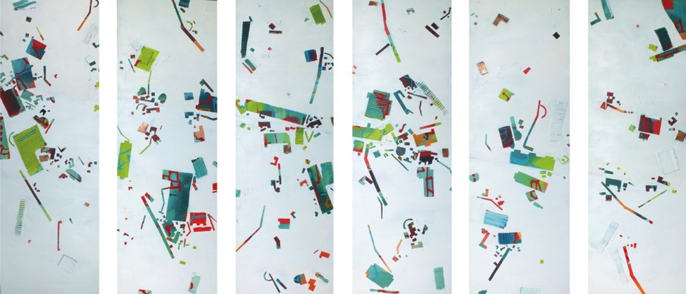 "No. 104, mixed media on canvas, 48""x96"" (six panels), 2014"