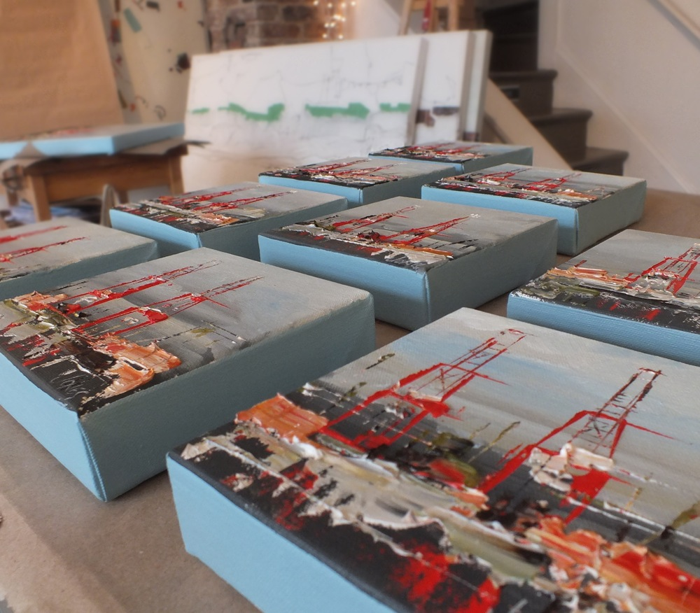 "A collection of 6""x6"" paintings destined for Port Days."