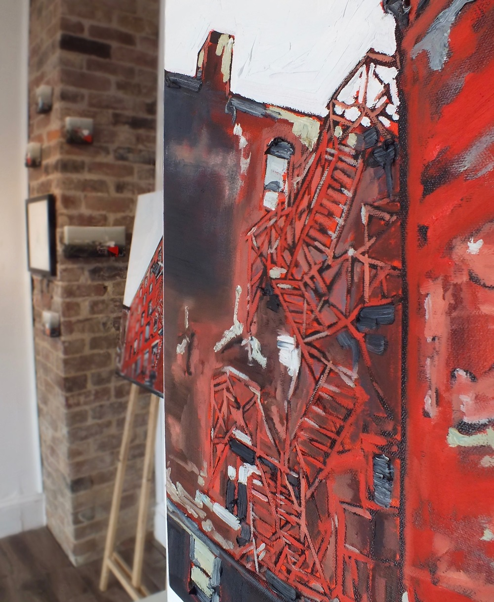 A peek at one of the newly arrived and freshly painted works for the weekend. A fire escape on Prince William Street.