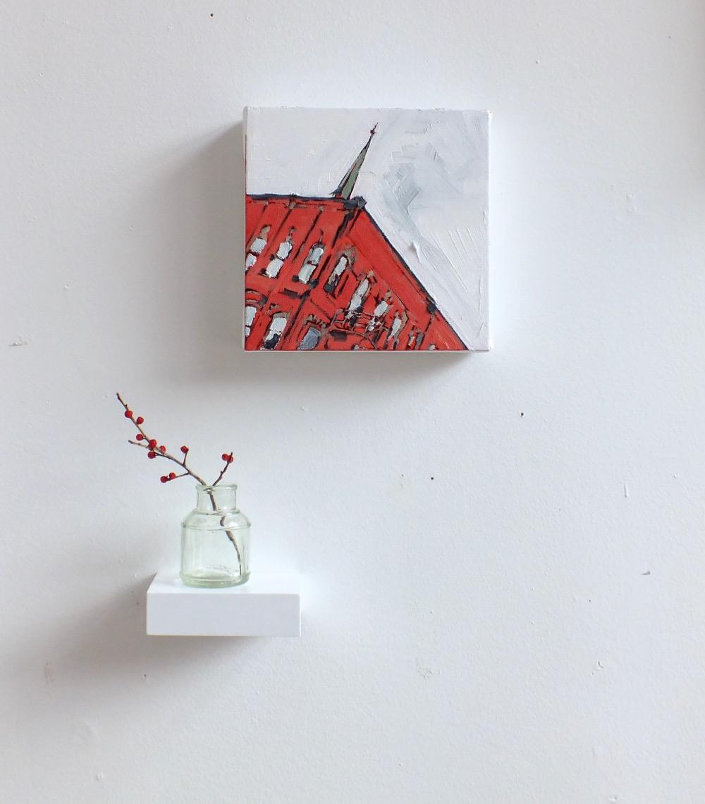 "Windows on Princess,oil on canvas, 7""x7"", 2015"