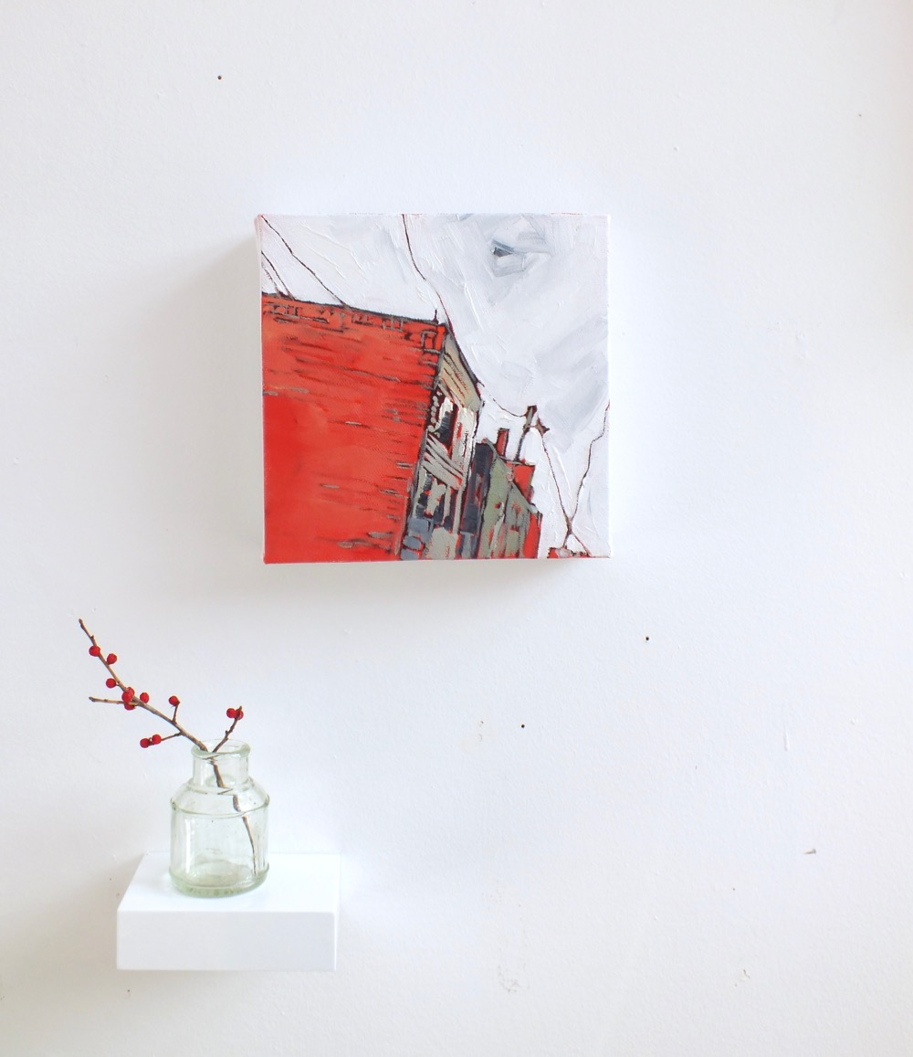 "Down Trinity Lane,oil on canvas, 7""x7"", 2015"