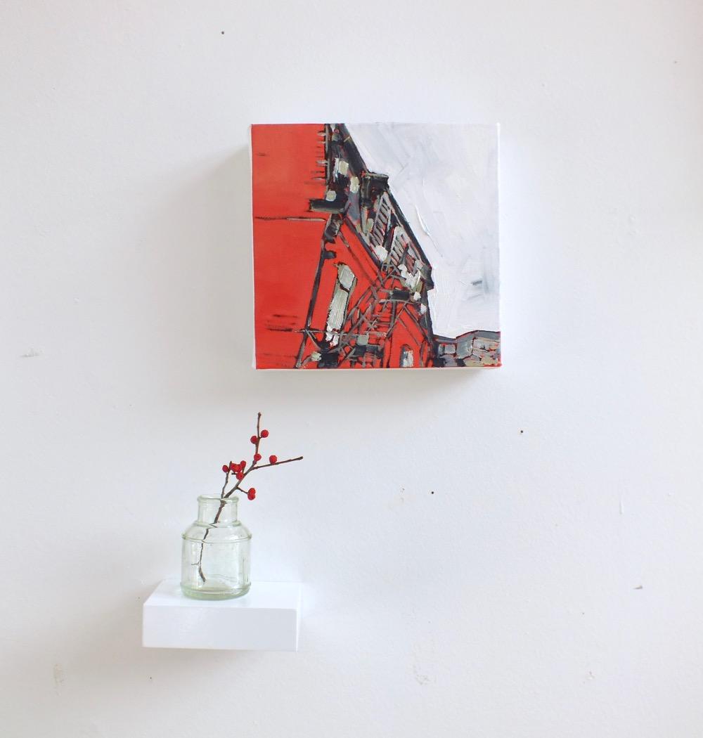 "I Found a Fire Escape,oil on canvas, 7""x7"", 2015"