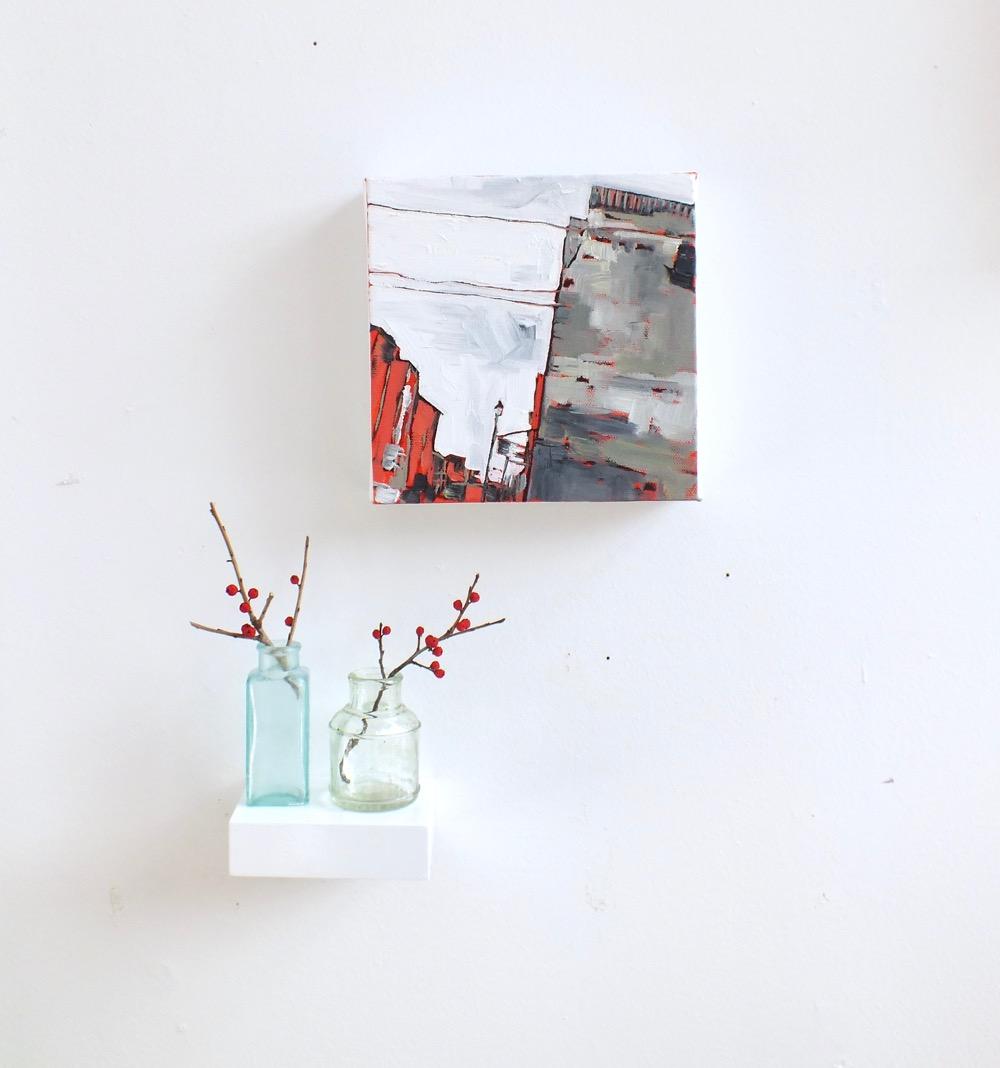 "Down Princess Street,oil on canvas, 7""x7"", 2015"